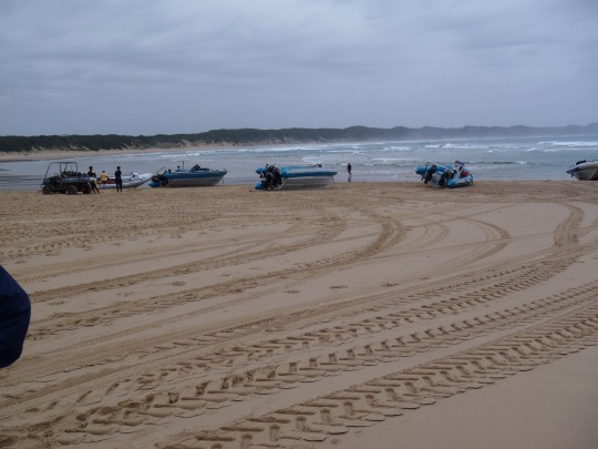 Boats lined up on the beach at Sodwana