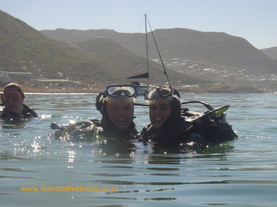 Jacques and Kalika on the surface after their successful dive