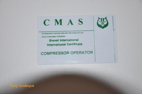 CMAS Compressor Operator certification card