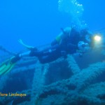 Tony swimming over the wreck