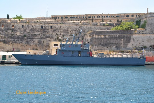 The P61 in the Grand Harbour at Valletta