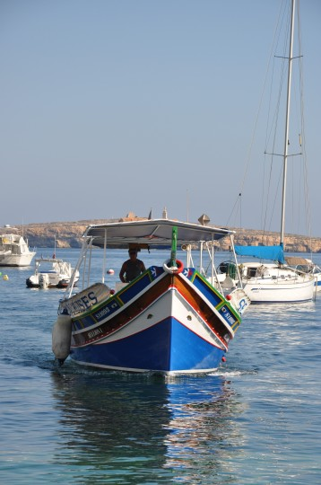 A traditional Maltese boat, used as a dive boat