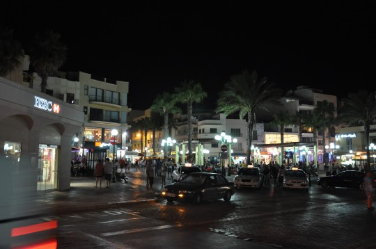 Bugibba town square by night