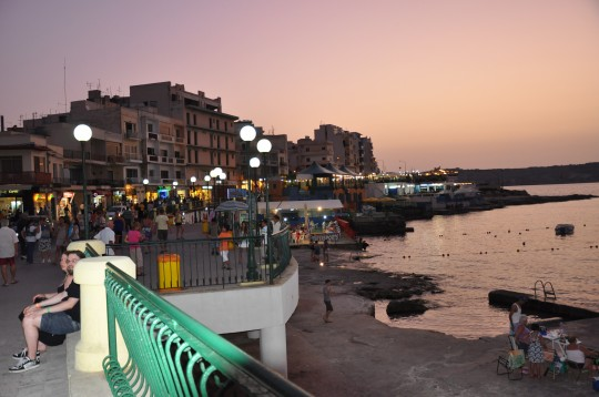 The view from Bugibba town square in the evening
