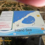 Sign showing the layout of the Inland Sea and tunnel (excuse the large finger on top)