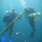 These two heavily-laden divers were busy with an advanced Nitrox course