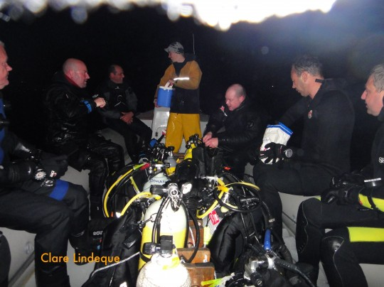 The divers back on the boat