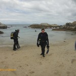 Exiting the water after a dive, in the east cove