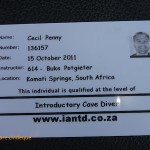 Cecil's IANTD Introductory Cave Diver card