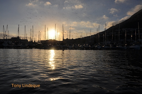 Sunrise behind Simon's Town Yacht Club