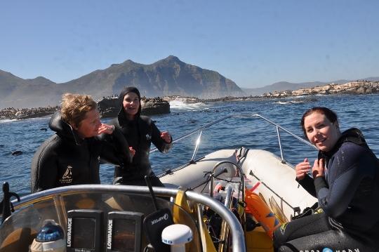 Happy snorkelers at Duiker Island