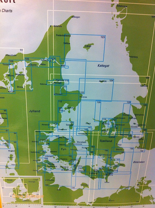 Sea charts of Danish waters