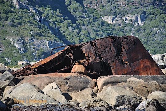 Wreckage just around the corner from Maori Bay