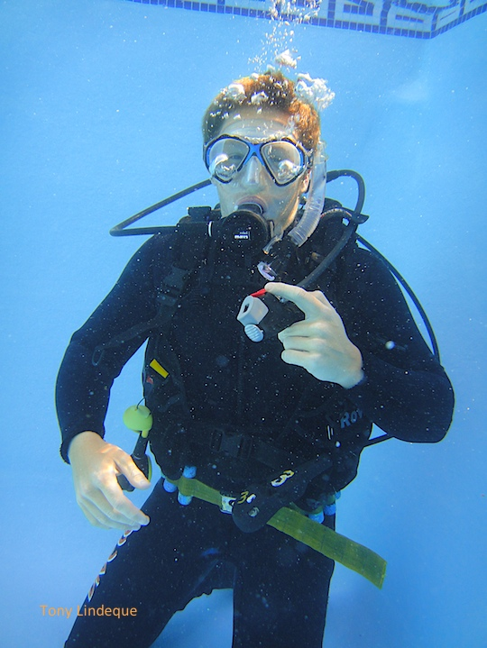 Josh breathing underwater