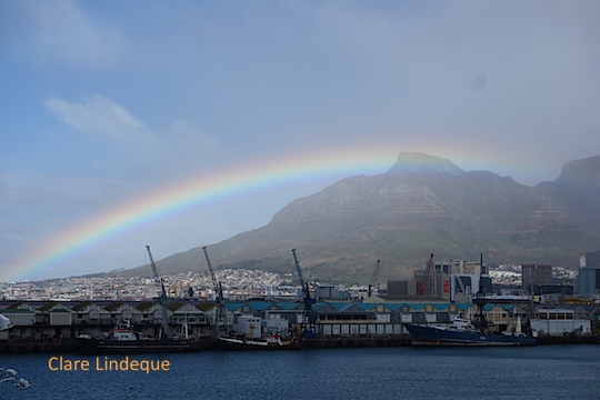 Rainbow over Table Bay harbour