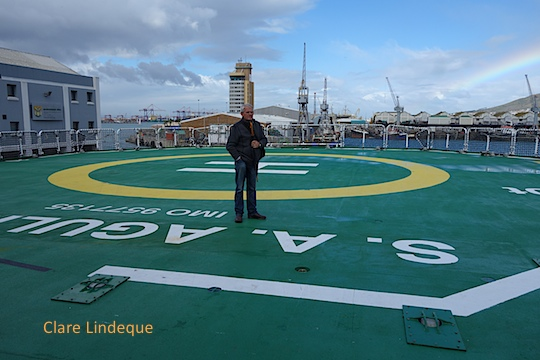 Tony on the helicopter pad