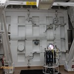 The side of the ship opens up to enable instrumentation to be deployed