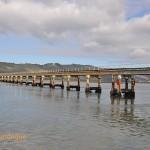 The railway bridge across the lagoon