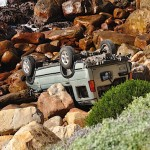 Pajero on the rocks, close to the water