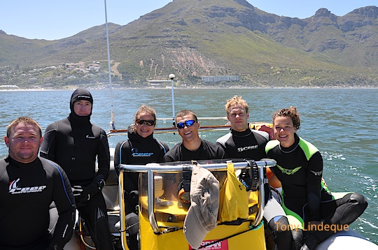Shane, Christo, Odette, Gary, Matthys and Otti in Hout Bay