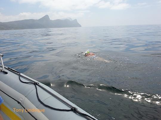 Richard swims into a glassy False Bay