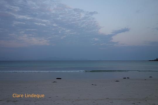 Quiet Fish Hoek beach at sunset