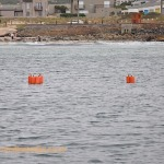 Buoys marking the tops of the risers