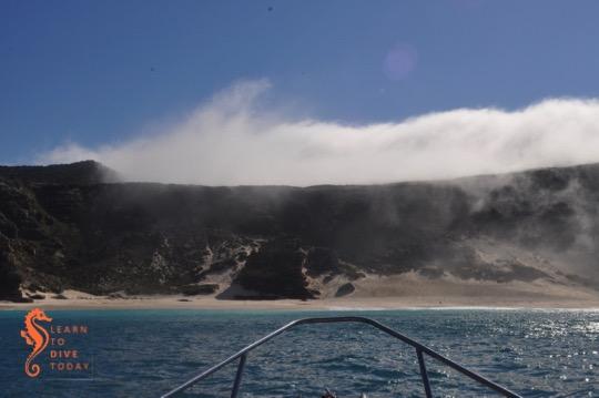 Diaz Beach lies under forbidding cliffs