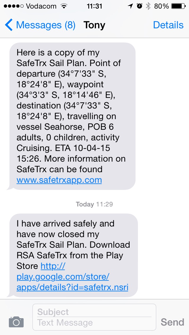 Text messages generated by SafeTrx app