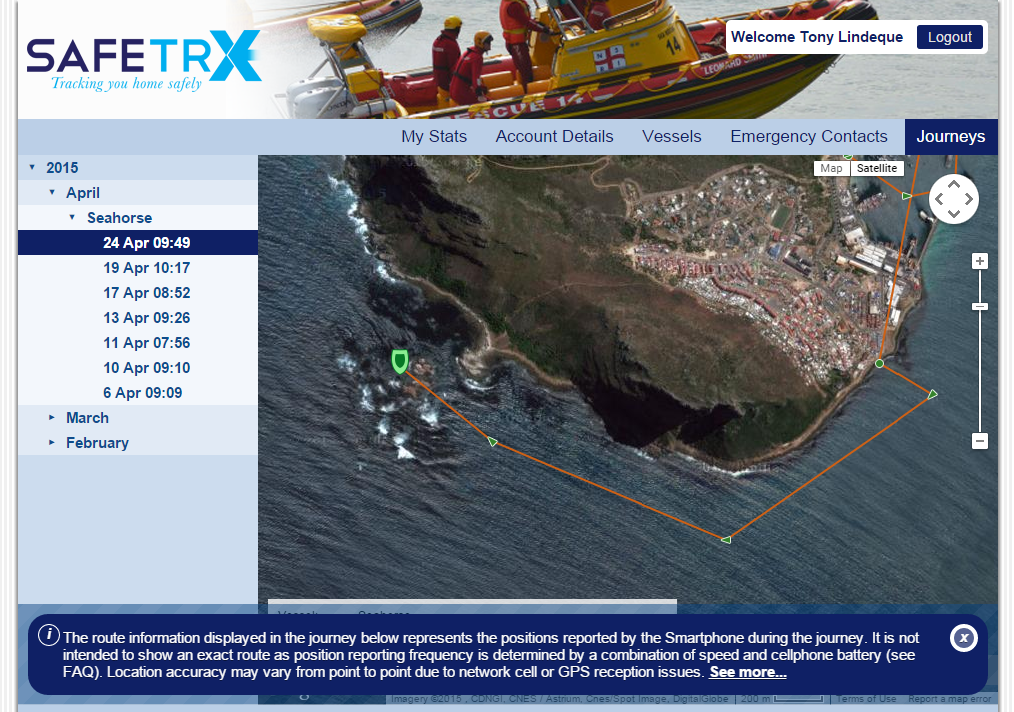 The NSRI SafeTRX app