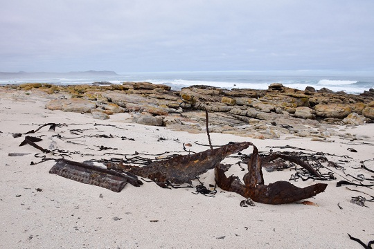 "The ""bonus wreckage"" of the Thomas T Tucker further along the beach"