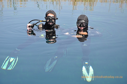 Clare and Tony diving at Marico Oog
