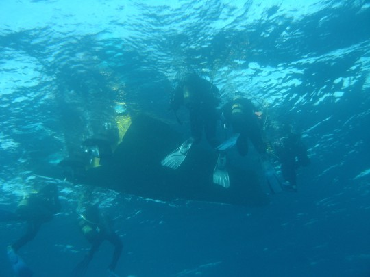 Underwater below the boat