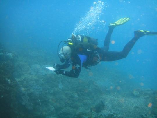 Justin identifying fish