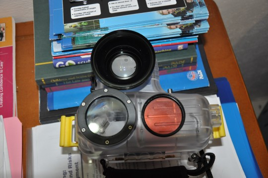 Top view of the sealed housing, filter and wide angle lens fitting