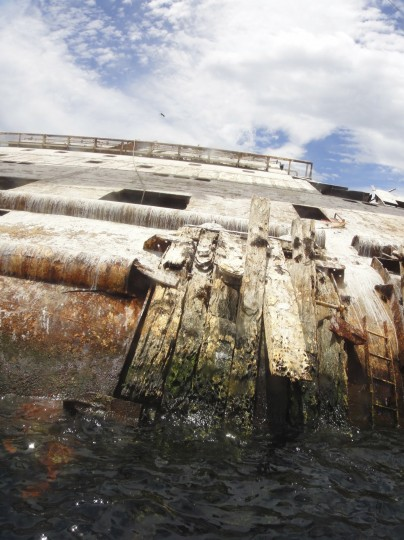 Back of the collapsed stern