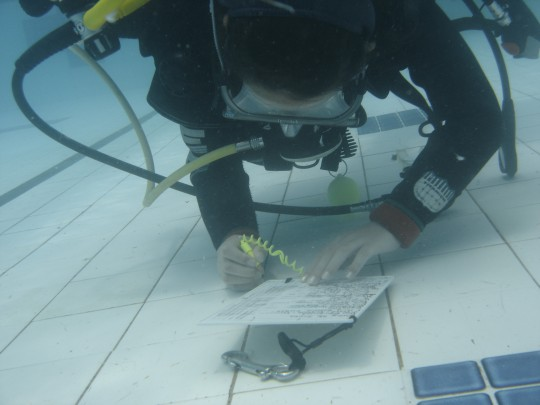 Abby writes on a slate underwater - look at that buoyancy