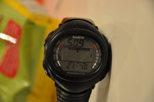 My trusty Suunto Mosquito showing the dive stats