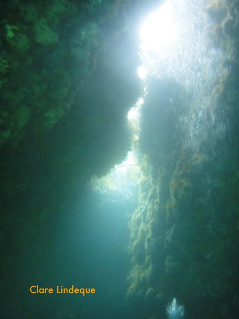 Air escapes through this gap at the top of the swim through