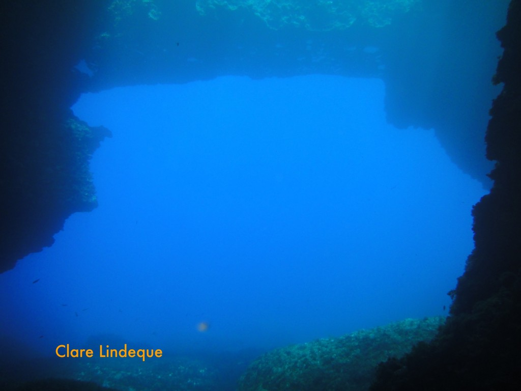 View out to sea, under the arch, from inside the cave