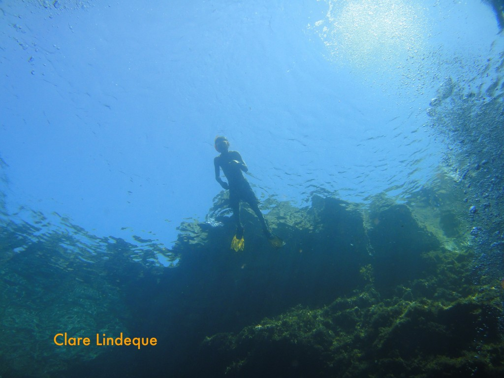 Swimmers on the surface of the Blue Hole