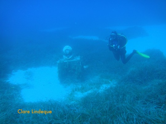 Divemaster Sergey hovers near the statue