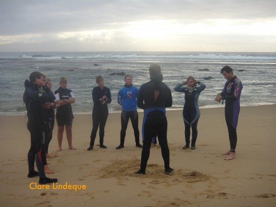 Dive briefing on the beach at Sodwana