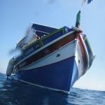 Our dive boat, a Maltese luzzu