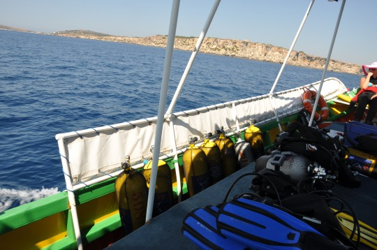 On board a traditional Maltese (dive) boat