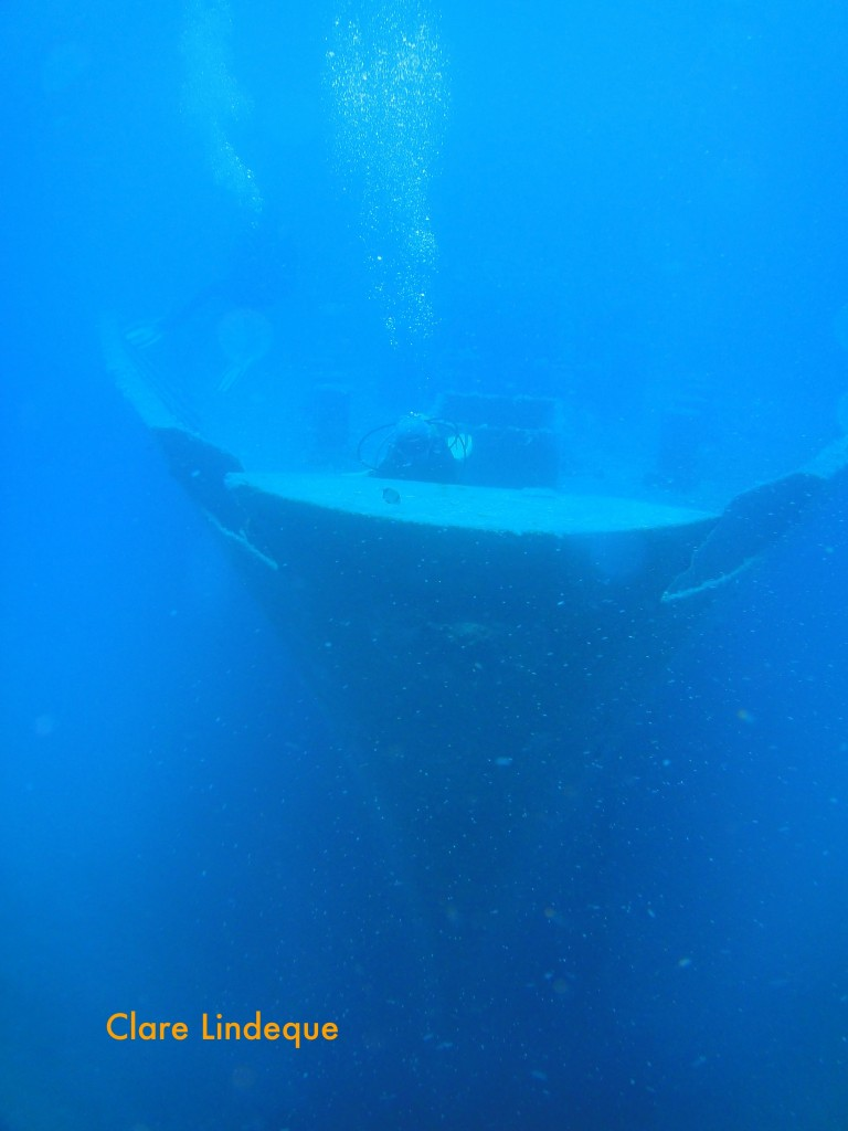 The bow of the Um El Faroud, with Tony and Sergey for scale