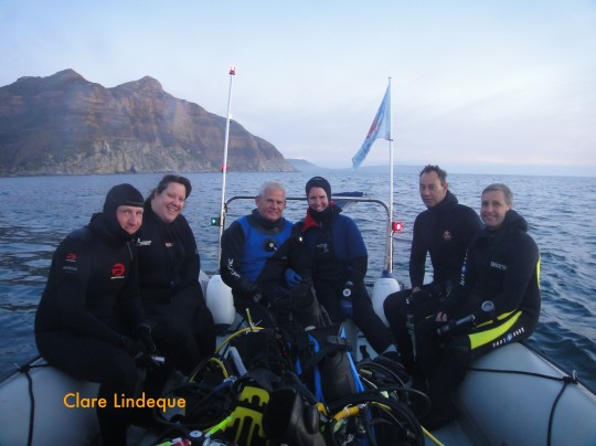 Goot, Tami, Tony, Clare, Gerard and Cecil, ready for a night dive on the Aster