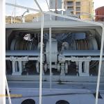 Winch drums behind the gun deck