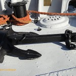 Anchor on the deck at the bow