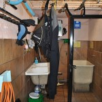 The gear rinsing and drying room